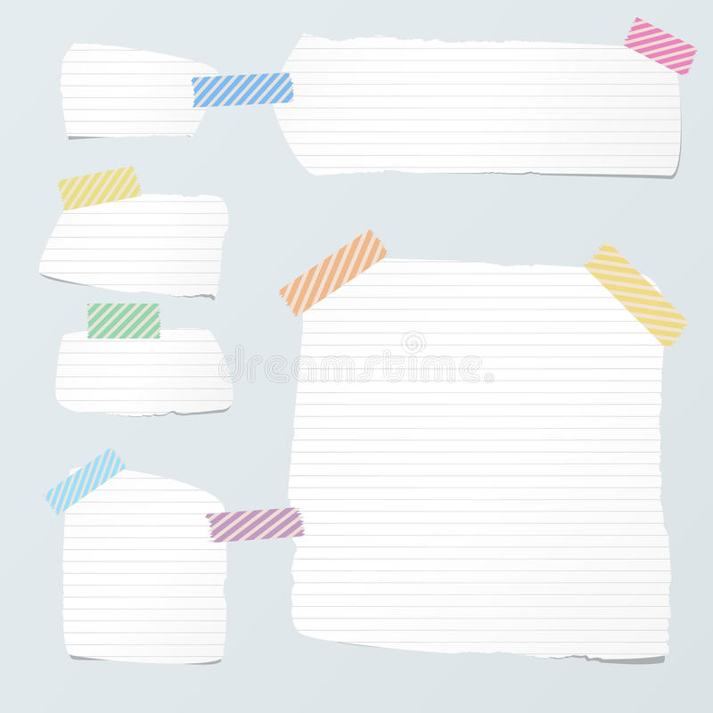 Pieces of cut white ruled note paper are stuck with striped sticky tape on light blue background.  royalty free illustration
