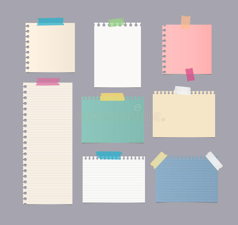 Pieces of different size colorful note, notebook, copybook paper sheets stuck with sticky tape on gray background.  vector illustration