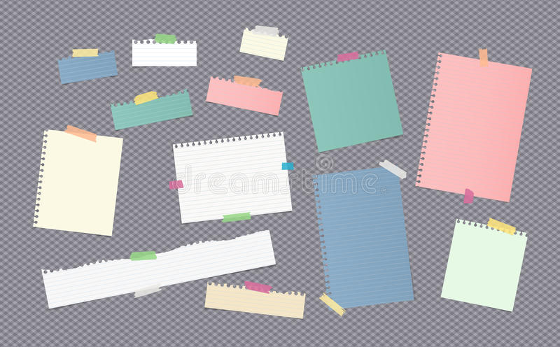 Pieces of different size colorful note, notebook, copybook paper sheets stuck with sticky tape on gray background. Pieces of different size ruled colorful note stock illustration