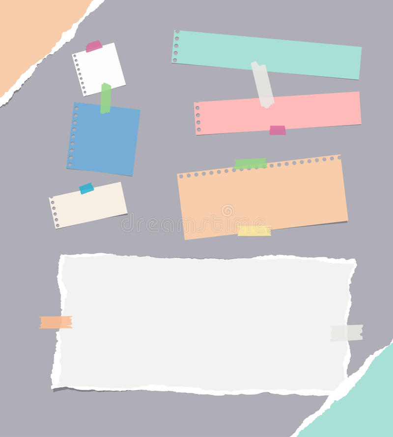 Pieces of different size ruled and blank colorful note, notebook, copybook paper sheets, strips stuck with sticky tape. On gray background stock illustration