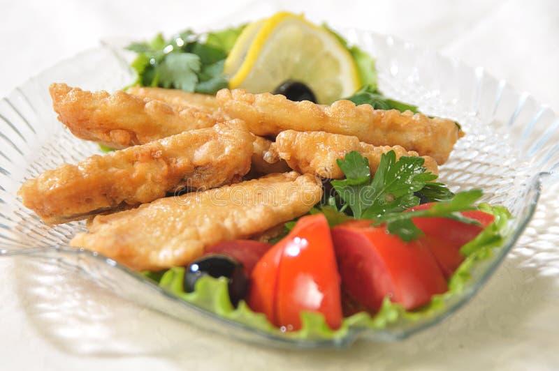 Pieces of fish filet stock photos