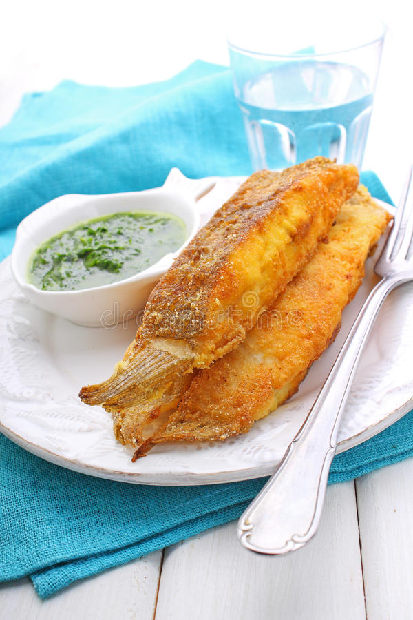 Pieces of fried fish coated royalty free stock photo