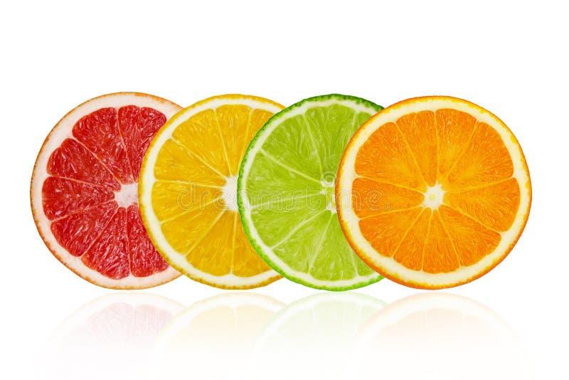Pieces of grapefruit, lemon, lime, orange isolated on white background. Pieces of pink grapefruit, lemon, lime, orange isolated on white background royalty free stock image