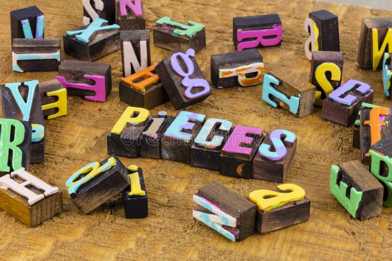 Pieces letters education parts puzzle strategy work life stock photos