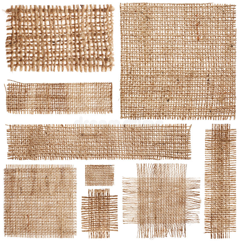 Pieces of linen fabric. Set of pieces linen fabric isolated on white background royalty free stock image