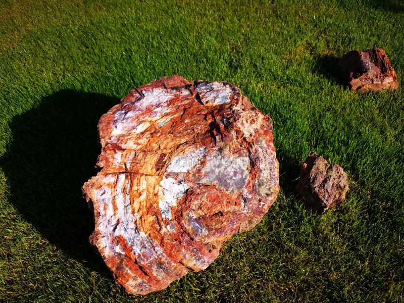 Pieces of mineral rock big and small. Three pieces of mineral rock - one large and two small on the grass royalty free stock photos