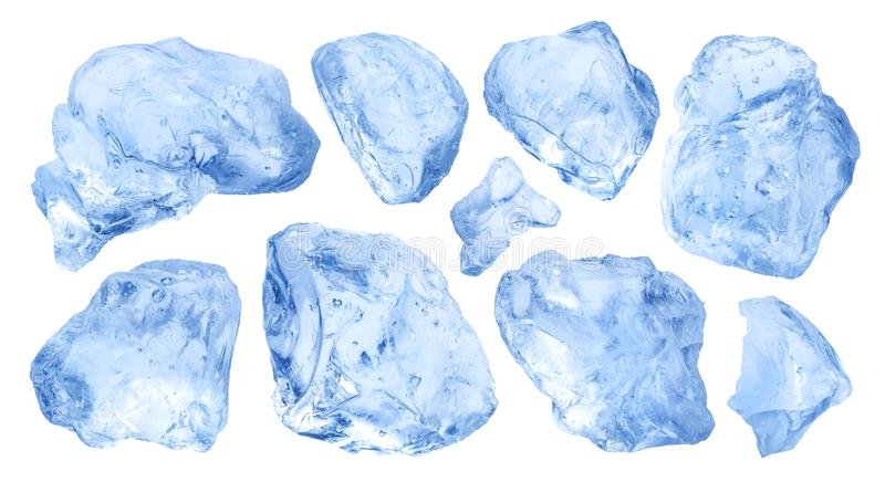Pieces of natural ice isolated on white background stock photos