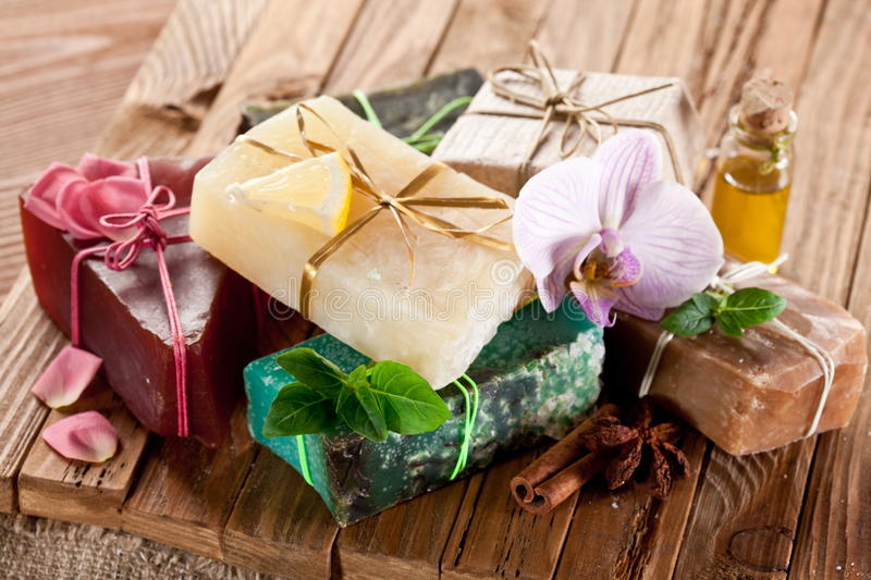 Pieces of natural soap. stock photos