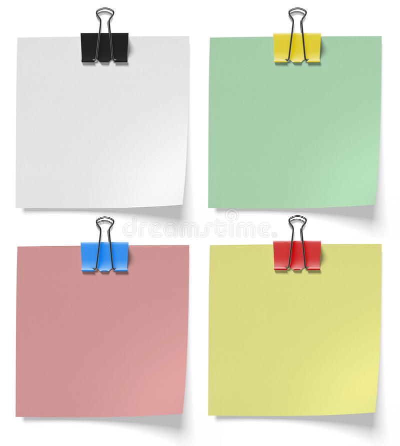 Pieces paper pinned binder clips. On a white background vector illustration