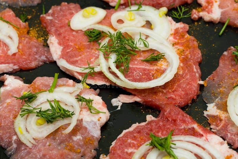 pieces pork fotografering för bildbyråer