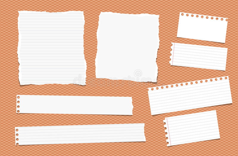 Pieces of ripped different size white note, notebook, copybook paper sheets. Strips stuck on squared orange background vector illustration