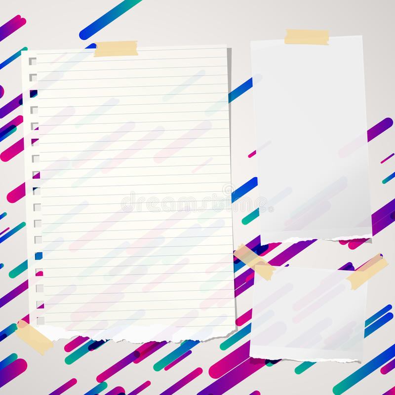 Pieces of ripped ruled and blank note, notebook, copybook paper sheets stuck on lined colorful background. Pieces of ripped ruled and blank note, notebook royalty free illustration