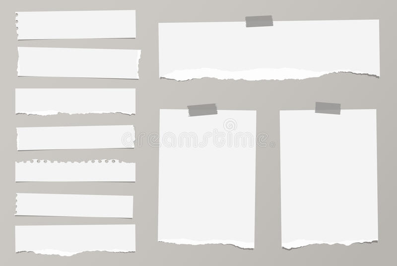 Pieces of ripped white blank notebook paper are stuck with sticky tape on gray background royalty free illustration