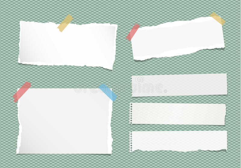 Pieces of ripped white note, notebook, copybook paper sheets stuck with colorful sticky tape on squared green background.  vector illustration