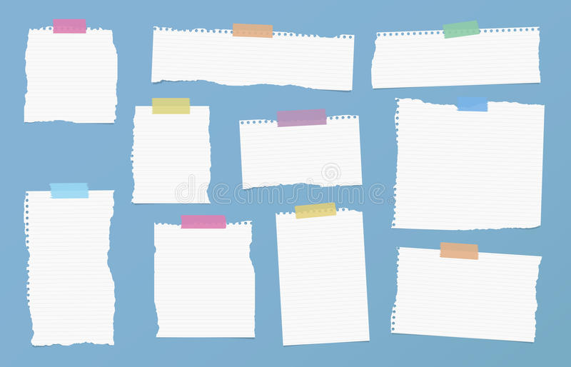 Pieces of ripped white ruled note paper are stuck with colorful sticky tapes on blue background.  vector illustration