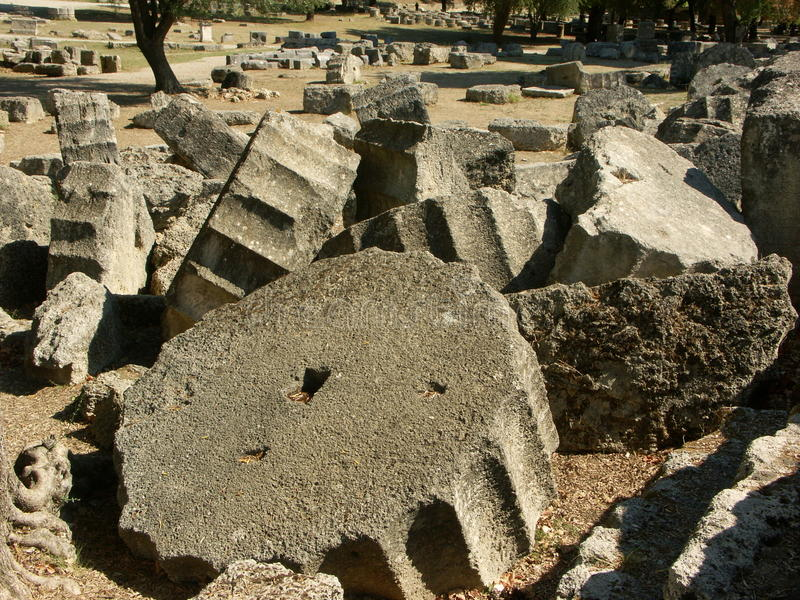 Pieces of ruined ancient greek columns stock images