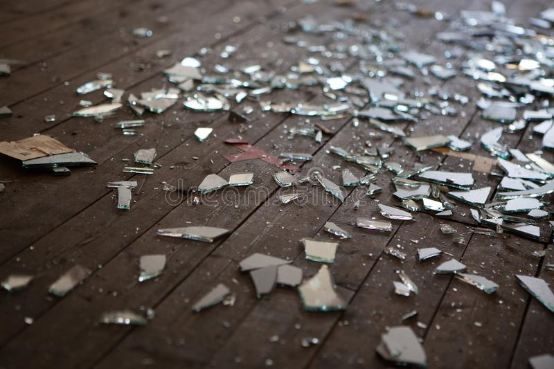 Pieces of shattered glass or mirror royalty free stock image