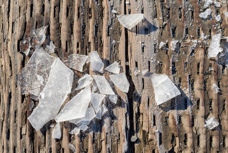 Pieces of shattered ice stock photos