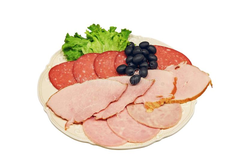 Pieces of sliced ham royalty free stock images