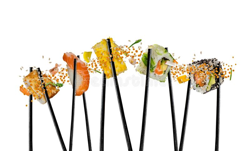 Pieces of sushi with wooden chopsticks, separated on white background. stock photos