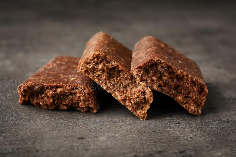 Pieces of tasty protein bar stock image