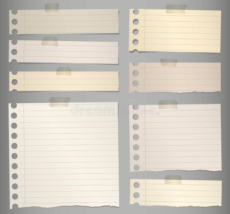 pieces of torn brown lined note paper with stock vector