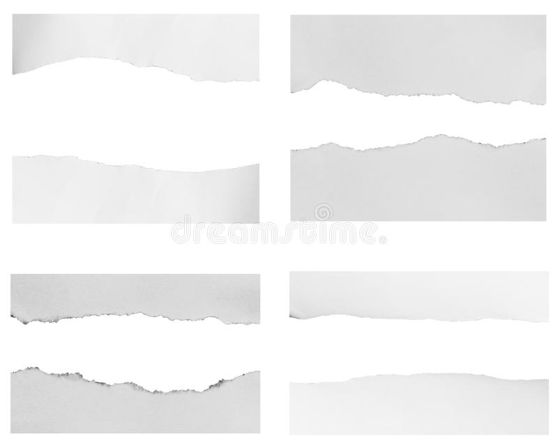 Pieces of torn paper stock image