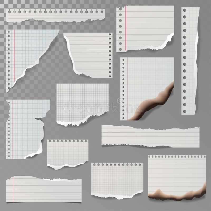 Pieces of torn white lined notebook paper square line rag white and burned page vector illustration. Lacerated ragged notice list reminder notepaper stock illustration