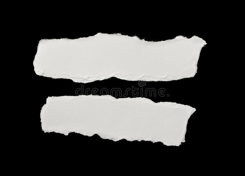 Pieces of torn white paper stock photos