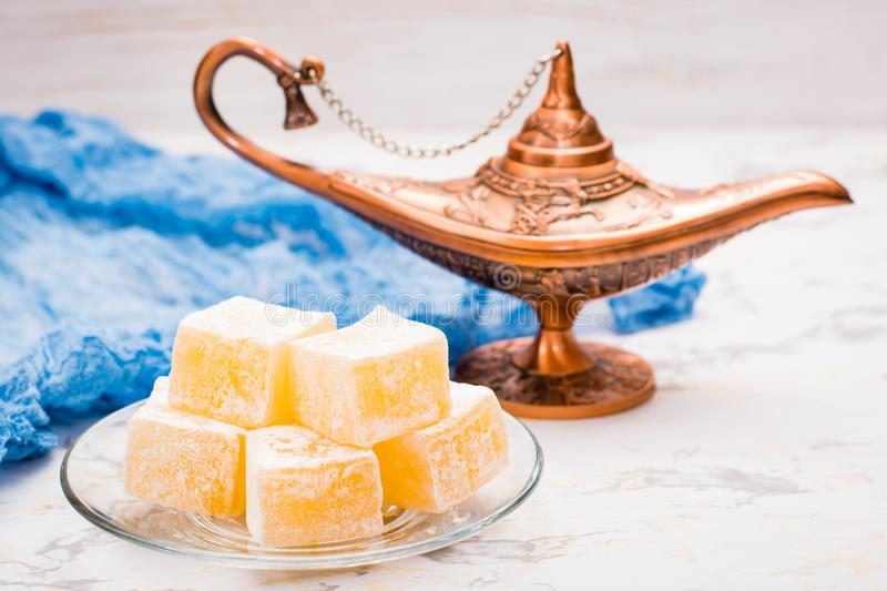 Pieces of Turkish Delight royalty free stock photos