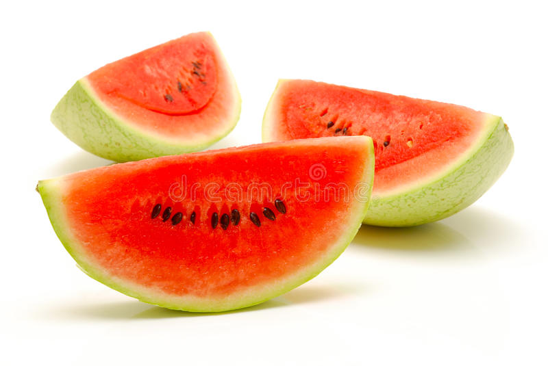 Pieces of watermelon on isolated royalty free stock photography