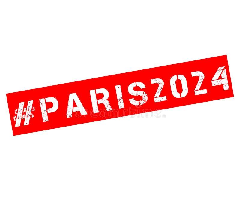 Pieczątka z tekstem Paryż 2024 ilustracja wektor