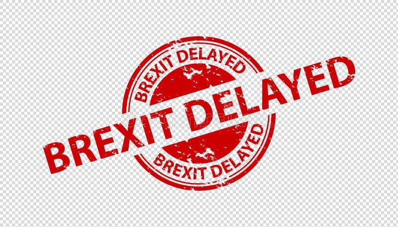 Pieczątki foka Brexit Opóźniający Odizolowywający Na Przejrzystym tle - Czerwona Wektorowa ilustracja - royalty ilustracja