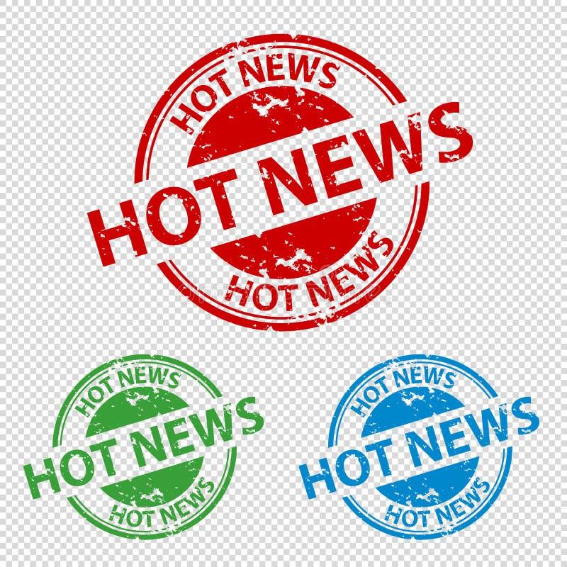 Pieczątki foki Gorąca wiadomość Odizolowywająca Na Przejrzystym tle - Wektorowa ilustracja - ilustracji