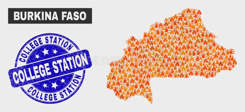 Pieczęć komika Burkina Faso Map and Distres College ilustracji