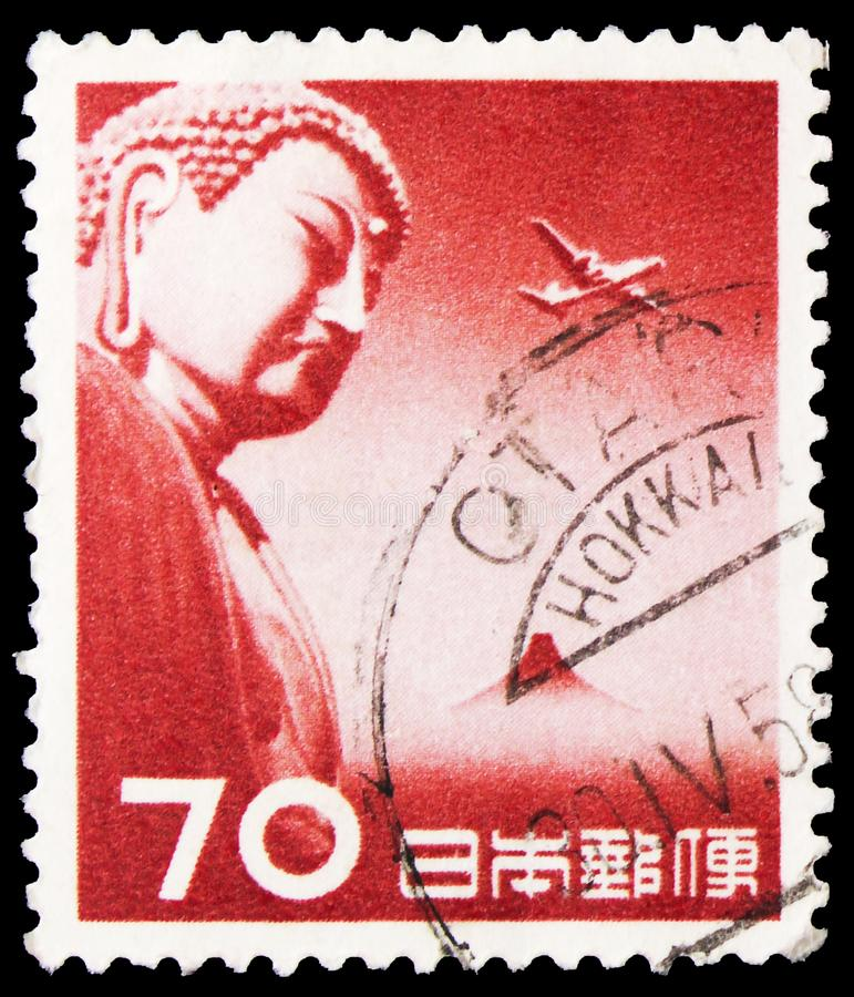 Pieczęć pocztowa drukowana w Japonii pokazuje Great Buddha of Kamakura, Airmail serie, 70 - jen japoński, około 1953 zdjęcia royalty free