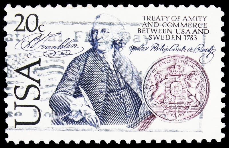 Pieczęć pocztowa drukowana w Stanach Zjednoczonych jest dwusetlecia  Szwecji - stosunków amerykańskich, wspólnej emisji Szwecji  obraz stock