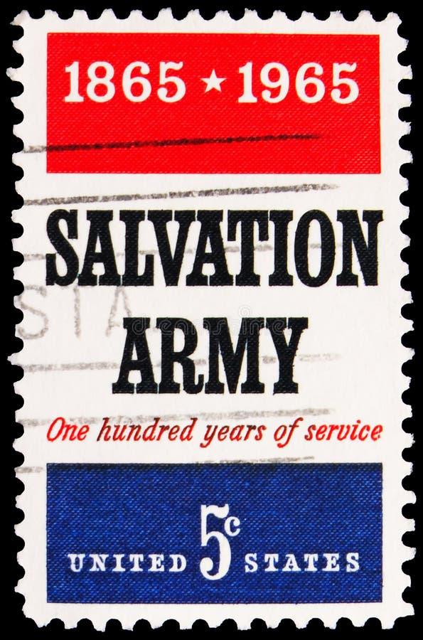 Pieczęć pocztowa drukowana w Stanach Zjednoczonych pokazuje Army Zbawienia, serie, 5 ・ centa - amerykański, ok. 1965 zdjęcia royalty free