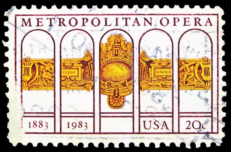 Pieczęć pocztowa drukowana w Stanach Zjednoczonych pokazuje Metropolitan Opera, serie, około 1983 fotografia royalty free
