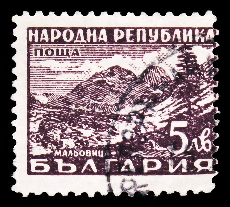 Pieczęć pocztowa wydrukowana w Bułgarii wskazuje Maljowitza, Rila Mountain, Definicje: Serie kąpielowe, około 1948 zdjęcie stock