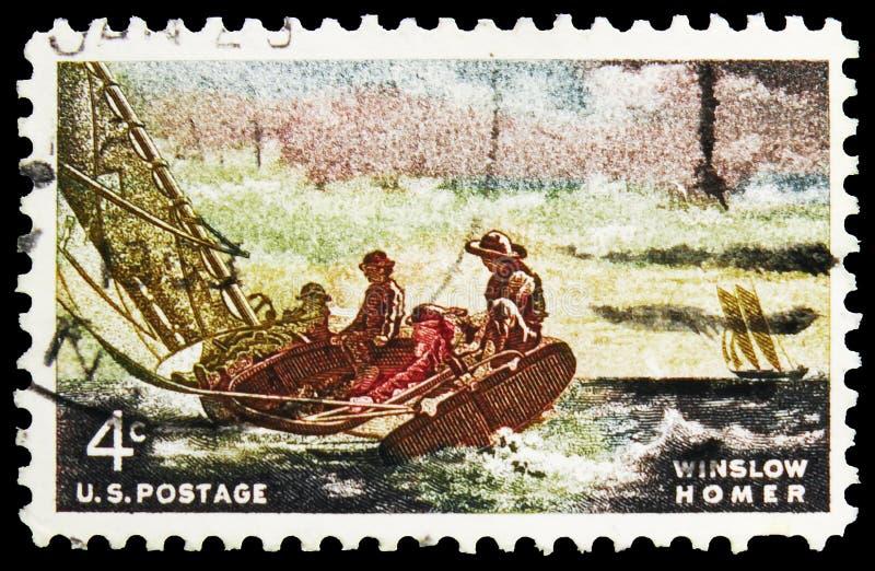 Pieczęć pocztowa wydrukowana w Stanach Zjednoczonych pokazuje Winslow Homer: Breezing Up, Winslow Homer Issue serie, około 1962 zdjęcie stock