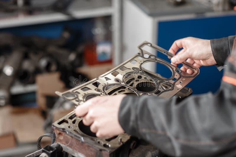 Pieczęciowa uszczelka w ręce Mechanik demontuje blokowego parowozowego pojazd Silnik na remontowym stojaku z tłokiem i zdjęcia royalty free
