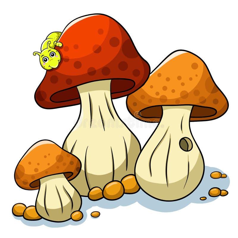 Pieczarka i gąsienica royalty ilustracja