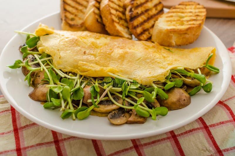 Pieczarka i Microgreen omlet zdjęcie stock