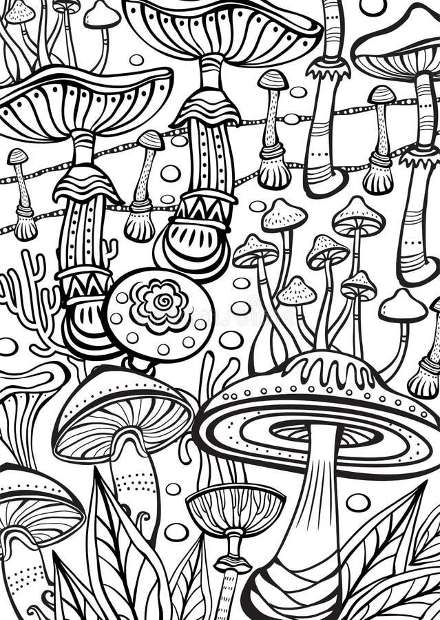 Pieczarki Barwi antistress książkową stronę ilustracja wektor