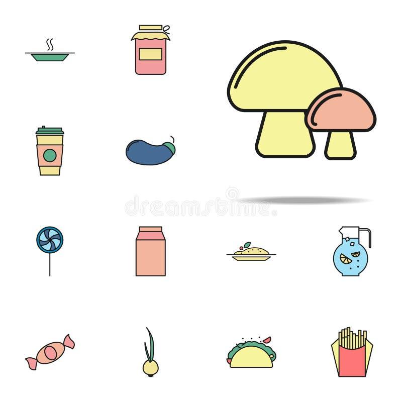 pieczarki barwiona ikona Karmowy ikony ogólnoludzki ustawiający dla sieci i wiszącej ozdoby ilustracji