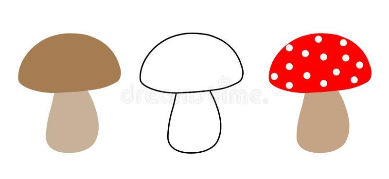 pieczarki ustawiać rysunki dla dzieci dla barwić uczyć się podstawowy jadowita i pospolita pieczarka royalty ilustracja