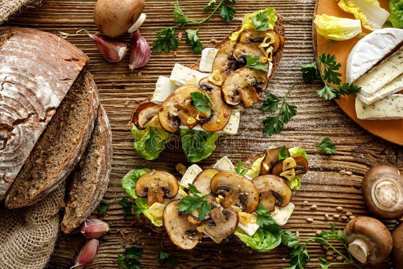 Pieczarkowa kanapka, otwarta stawiająca czoło kanapka z dodatkiem brąz pokrajać pieczarki, camembert ser, sałata i świeża pietrus obraz stock