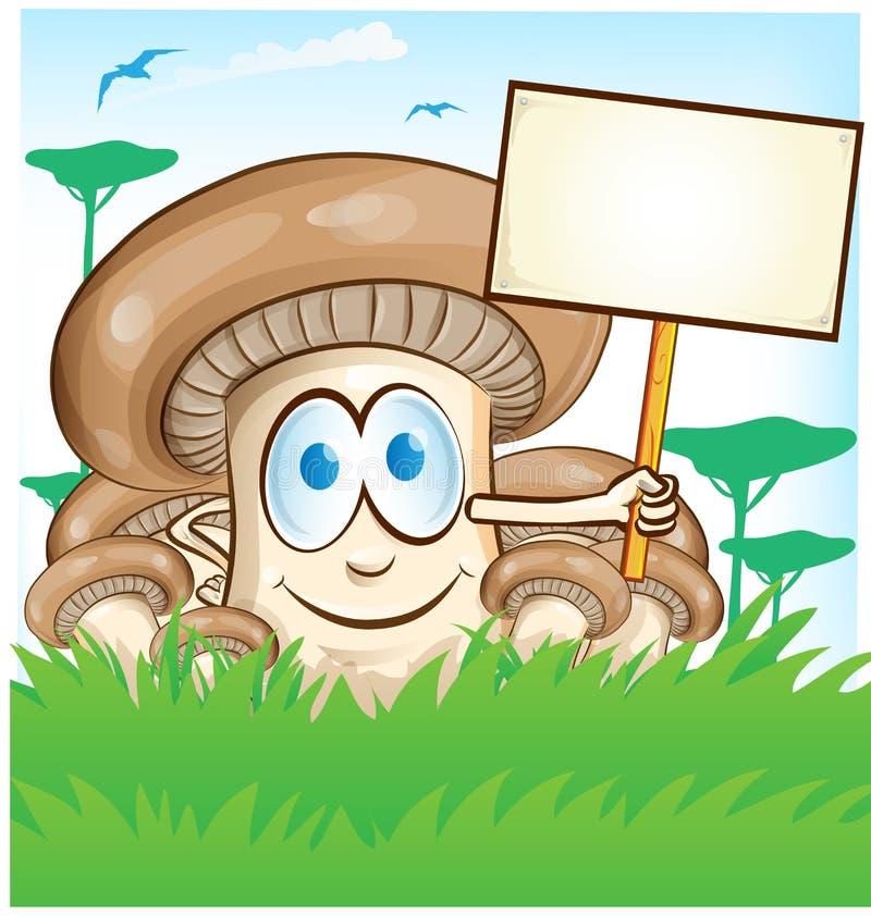 Pieczarkowa kreskówka z signboard ilustracja wektor