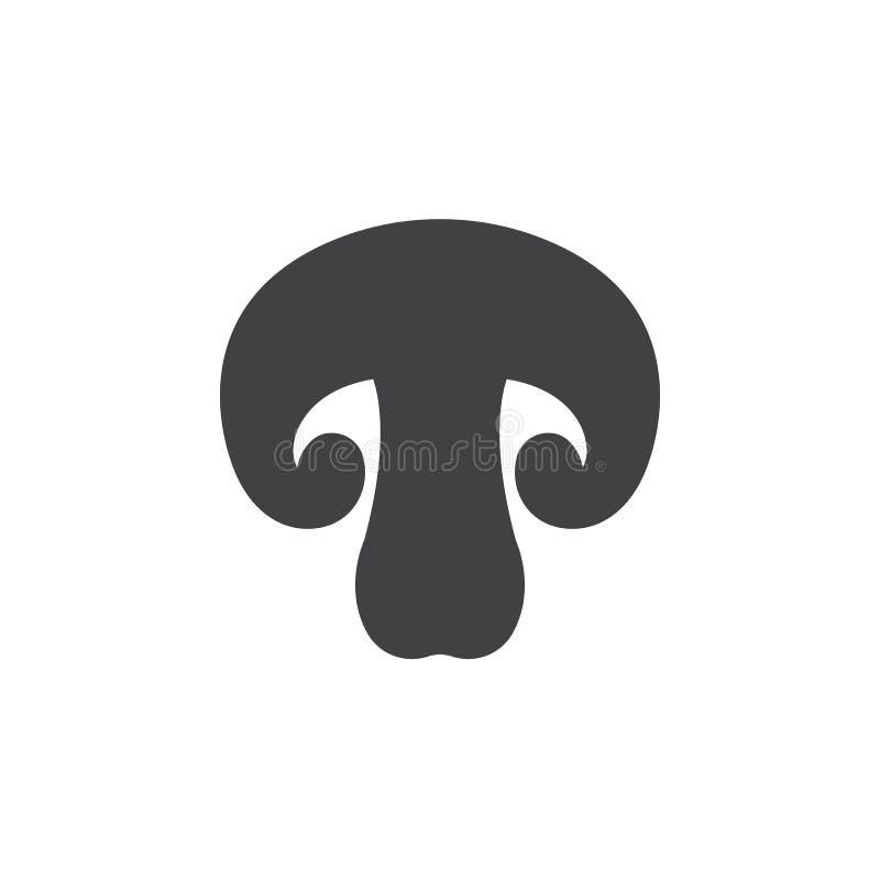Pieczarkowy ikona wektor, wypełniający mieszkanie znak, stały piktogram odizolowywający na bielu ilustracja wektor